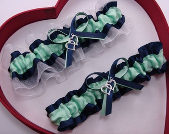 Wedding Garters  Mint Navy Blue White Set Keepsake Toss  Wedding Garters  Prom