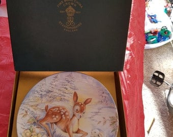 """Crown Staffordshire """"Peace Perfect Peace"""" Plate Xmas 1978"""