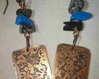 Copper Etched Earrings, Abstract