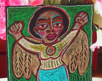 Super Angel Strong Woman Oil Pastel Original drawing