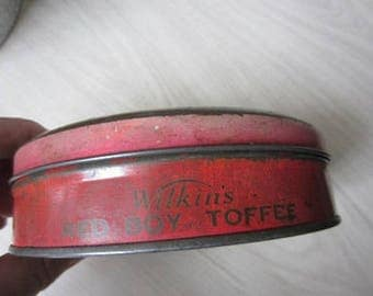 Wilkin's Toffee tin with red boy