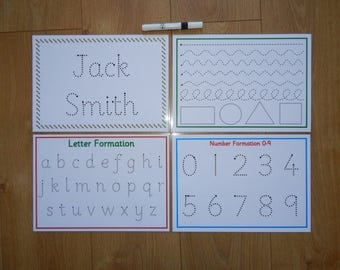 Formation Mats - letter, number, name card, pen control -A4 laminated wipe clean, reusable mats - Handwriting practise, EYFS, Early Learning