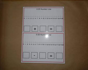 0-20 Number lines,  Addition, Subtraction, Laminated Mats, EYFS, KS1, SEN, Numeracy, maths, teaching resource, educational, home schooling