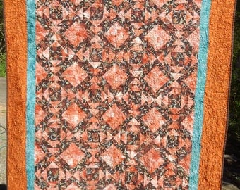 Patchwork Batik Quilt - Thistle Floral in Orange and Teal