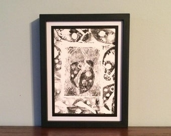 Stylized Ladybug and Ladybug Border- Original Relief Print