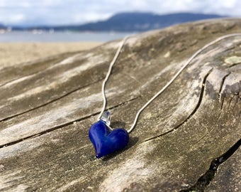 Glass Heart Pendant - Ocean Sea Blue Necklace - Heart Necklace - Glass Jewelry - Blown Glass Heart - Borosilicate Heart Pendant