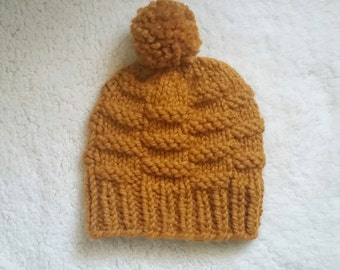 Chunky Knit Textured Basket Weave Beanie Hat w/ pom; *Customizable || The Starling || Butterscotch