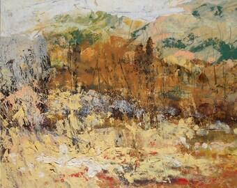 Autumn field landscape, Original oil painting,  Impression home decor, Family  gift, Modern art