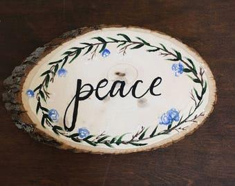 Peace, on Wood Panel, Handmade, Christian Art, Positive Painting, Bible Inspired, Wreath