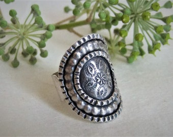 925 Silver ring. Ethnic ring. Silver jewelry. Ethnic jewelry.