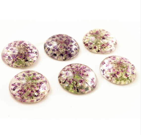 5 PIECES 25mm Natural Purple Lilac Dried Flowers Flat Back Resin Cabochons
