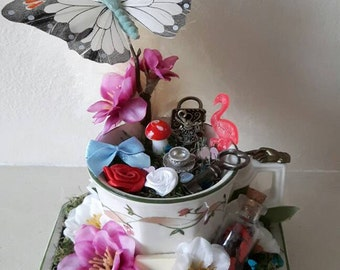 Alice in wonderland inspired small teacup wedding/party decoration