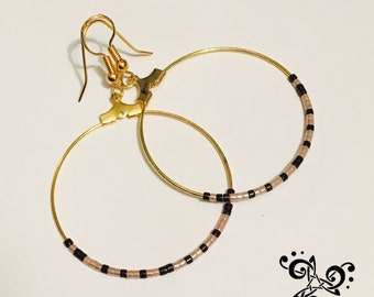 Large pink and brown hoop earring with Miyuki beads