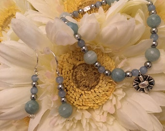 Women's Bracelet  and Earrings Jewelry Set made with Aquamarine Beads and Light Sapphire Beads. CUSTOM SIZED