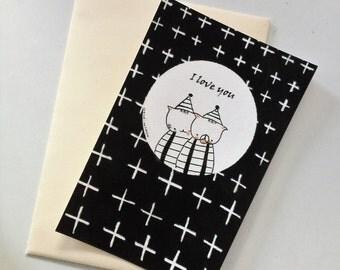 "Postcard ""Choumi et Michou  : je t'aime"""