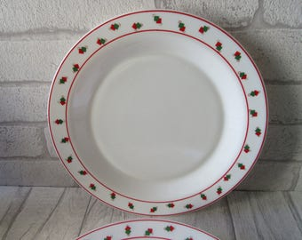set of 7 Arcopal white pyrex geometric red and green squares pattern dinner plates retro vintage kitsch collectible 1980s pyrex French