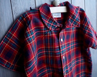 1960s Merry Mites Madras Button-Up - Size 3T