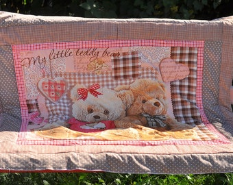 """Baby quilt """"Teddy bear """" pink """" , детское одеяло , baby quilt blanket , Baby Patchwork quilt , Baby Blanket , Quilt Baby"""