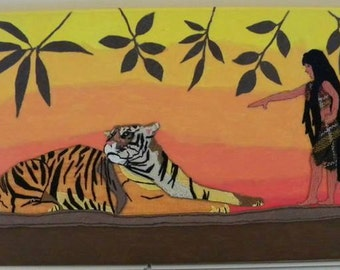 WOMAN painting Tiger