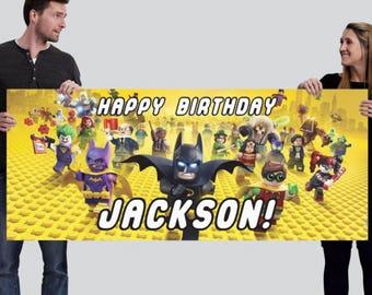 Lego Batman Custom Happy Birthday Banner (2.5'x6' or other)