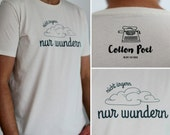 "Organic, fair and soulful MALE t-shirt - ""WUNDERN"" - vintage white"