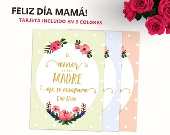 Spanish Quote Card for Mama Spanish Text - Felíz Día de las Madres - Te Quiero Mamá Tarjeta Floral Regalo para Mama Mother's Day Card
