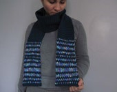 Dark blue scarf with multicolored stripes