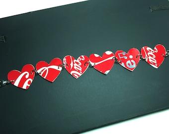 Recycled Coke Can Heart Bracelet