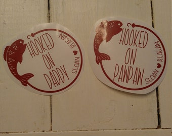 Hooked on Daddy Decal/Hooked on PawPaw decal/Daddy fishing decal/Grandafather fishing decal/Daddy Cup Decal/Grandfather Cup Decal