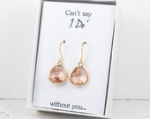 Champagne Gold Earrings, Light Peach Gold Earrings, Bridesmaid Gift, Wedding Jewelry, Bridesmaid Earrings, Champagne Bridal Accessories