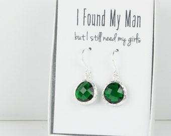 Emerald Silver Earrings, Silver Green Earrings, Bridesmaid Gift, Emerald Wedding Jewelry, Bridesmaid Earrings, Green Bridal Accessories