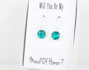 Teal Silver Earrings, Teal Blue Silver Square Earrings,  December Birthstone Earrings, Bridesmaid Earrings, Teal Wedding Jewelry
