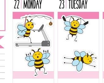 Workout Planner Stickers, Exercise Stickers, Diet, Weights, Treadmill, Gym, Bee Stickers, Happy Planner Stickers, Erin Condren Stickers