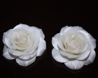 White Rose 2pcs WHITE ROSE Polymer clay rose Pearl effect For you Necklace Jewelry Supplies Pearl white rose