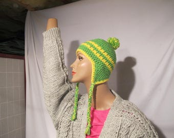 Yellow & Green Scandanvian hat with earflaps