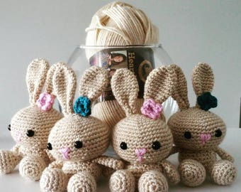 Emma the Easter Bunny. Great for Easter baskets and gifts. Baby shower. Great for all ages. Tiny, cute stuffed amigurumi rabbit.