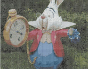 Cross stitch pattern Alice wonderland time,pdf,the hare and watch,disney cross stitch pdf,rabbit and time cross stitch