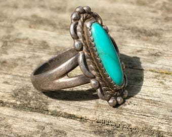 Vintage Turquoise and Sterling Silver | Size 5.5 | Native American