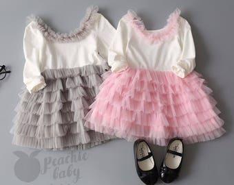 Tutu Party Dress, Long Sleeve Layered Dress for Girls