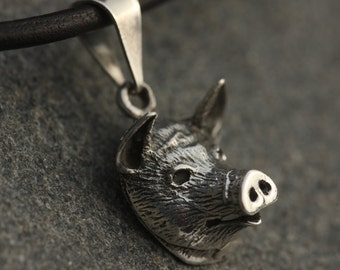 Sterling Silver Pig Face Pendant