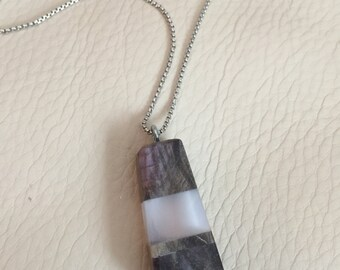 "Stabilized Dyed Maple with Pink Acrylic Resin and a Thin Slice of Bighorn Sheep Horn Necklace Pendant, Comes with 18"" Sterling Silver Chain"