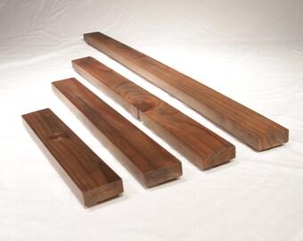 Floating decorative redwood shelves, 12'',18'',24'',36''.