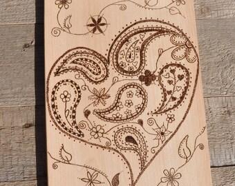 Wooden board Heart