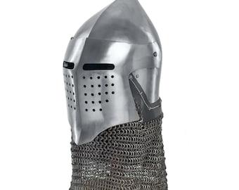 Combat helmet closed bacinet SCA LARP medieval helmet SCA helmet larp helmet warrior helmet steel armor sca armor larp armor armour