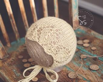 Hand Knitted Newborn Bonnet,Baby hat,Girl Hat,Boy Hat,Bonnet, Knit baby hat, Photo props, Newborn Props,Infant Hat