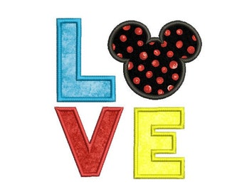 Mickey applique design , Disney embroidery design , Love applique design , Mickey mouse face embroidery design , Baby embroidery