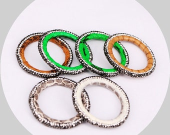 6/10pcs Multicolor Snakeskin Stone Beads Pave Rhinestone Connector Circle Beads