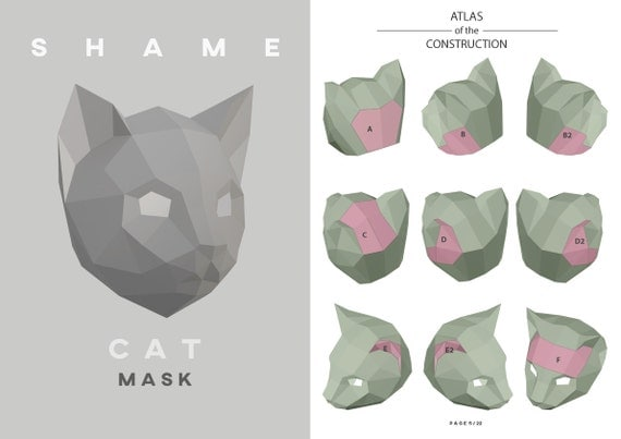 how to make cat mask with chart paper