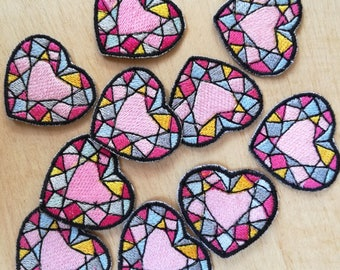 Apply patches embroidered heart stained glass size of preference are manufacturers
