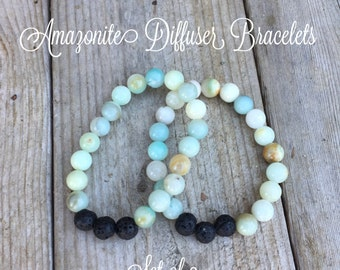 Amazonite Diffuser Bracelet - Set of 2 - With 1/4 Dram Essential Oil Sample